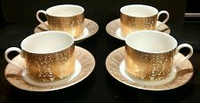 Set of 4 Mikasa TAJ MAHAL GOLD Cups & Saucers - RARE!