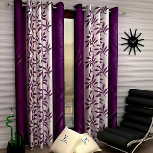 Home Decor Purple Polyester Door Curtain 9 Fit Set -2 Pieces