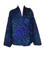 TIM HARDING designer ART-TO-WEAR silk blue & Purple MEDIUM coat JACKET