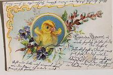 26047 Kitsch AK Fröhliche Ostern 1905 Küken im Blumen Rahmen PC easter