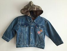 LEVI'S Denim Jean Jacket w/Camoflage Hood & Patches Size 3T