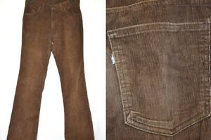 vtg 70s LEVIS BROWN CORDUROY WHITE TAB MADE IN PUERTO RICO MEN'S PANTS 34 x 35