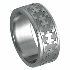 Stainless Steel 8mm Autism Awareness Jigsaw Laser Cut Puzzle Ring Size 5-14