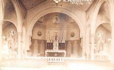Tama Iowa~St Patrick's Catholic Church~Interior~1930s Real Photo~Sepia RPPC