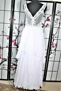 BEADED WHITE WEDDING  DRESS, 16 ILLUSION BACK
