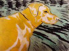 Yellow White Labrador Retriever Linocut  by K Grey Dog Lab Puppy Swimming Hunt