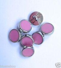 5 x Bottoni Camicia Abito rosa pallido con finiture in argento gambo sul retro 8mm