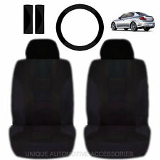 NEW BLACK DOUBLE STICH FRONT LOW BACK SEAT COVERS & STEERING SET FOR CARS 2023