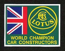 Lotus World Champion Car Constructors Sticker, Vintage Sports Car Racing Decal