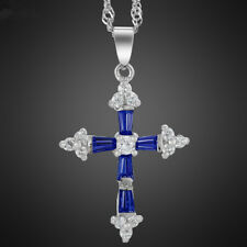 Wedding Jewelry Cross Cut Blue Sapphire White Gold Plated Pendant Necklace