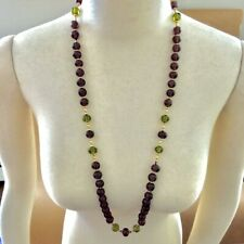 Exquisite Amethyst and Peridot 14K Solid Gold Strand Necklace