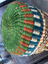 Handcrafted � African Bolga Market Basket, Leather Handle. Signed. (Ghana)