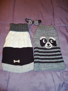 LOT OF 2 DOG PET SWEATERS BLACK WHITE GREY wag a tude BONE PUPPY SIZE SMALL