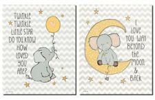 Elephant Twinkle Love and Two the Moon on Chevron; Two 8x10in Poster Prints