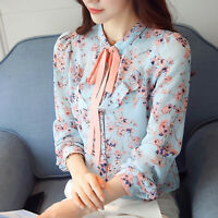 Spring Women Elegant Stand Collar Bow Tie Lace-up Floral Print Chiffon Blouse