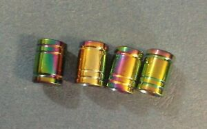 Neo Chrome Cylinder Air Valve Cap Set Tyre Car Wheel BMX Dust Rainbow Oil Slicks