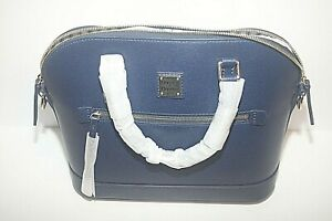 Dooney & Bourke Marine Saffiano Leather Domed Zip Satchel Shoulder Bag NWT