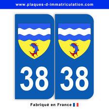 Stickers pour plaque département 38 Isère (jeu de 2 stickers) blason