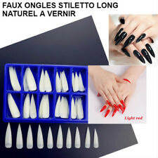 LOT FAUX ONGLES CAPSULES STILETTO POINTU NATUREL EXTRA LONG + COLLE MANUCURE