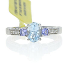Sterling Aquamarine, Tanzanite, & White Zircon Ring -925 Oval 1.01ctw Engagement