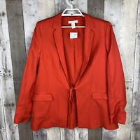 H&M Womens Size 12 Front Tie Blazer Orange Long Sleeve Pockets Linen Lined NEW