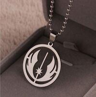 "Star Wars Jedi Order Symbol Titanium Steel Necklace Pendant 23.7"" Beads Chain"