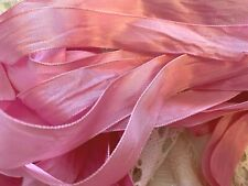"""VINTAGE RAYON SILK 1"""" RIBBON 1920's Made in France 1yd BUBBLE GUM"""