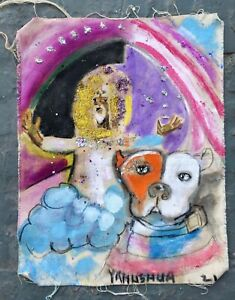 "12x19"" Messydog & Yahushua Primitive Outsider Rural Oil  Canvas Art"