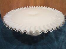Fenton Cake Plate Stand White Milk Glass Silver Crest