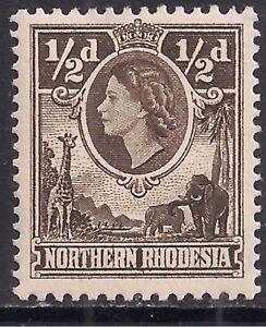 Northern Rhodesia 1953 QE2 1/2d Deep Brown MM SG 61 ( B331 )