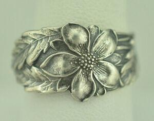 Beautiful 925 Sterling Silver Columbine Flower Spoon Ring