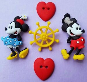 STEAMBOAT WILLIE Disney Craft Buttons Mickey Minnie Mouse Sailor Dress It Up