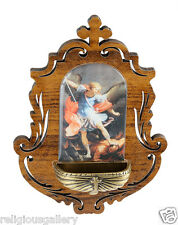Wooden St Michael Archangel Holy Water Font, Catholic Religious Gifts Favors