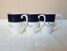 NEW Lenox Kate Spade New York Nags Head Navy White Border 12 oz Mug Cup (3 PCS)