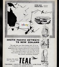 TEAL AIR NEW ZEALAND 1951 SOUTH PACIFIC SKYWAY ROUTE MAP AD