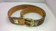 Tony Lama Hand Tooled Western Brown Leather Floral Pattern Belt 19505