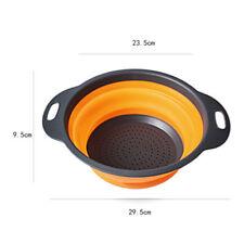 Kitchen Collapsible Foldable Silicone Colander Fruit Vegetable Strainer Basket Q