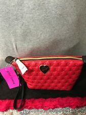 Betsey Johnson Trapezoid Be Mine Red & Black Heart Zip Pouch Purse Wristlet