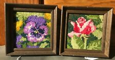 Small Vintage Embroidered Framed Rose and Pansy Flower Textile Art Wall Hanging