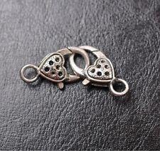 10pcs tibetan silver Small Heart lobster clasp 25X14MM JK0065