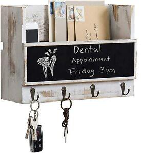 MyGift Whitewashed Wood Wall-Mounted Mail Holder with Chalkboard & Key Hooks