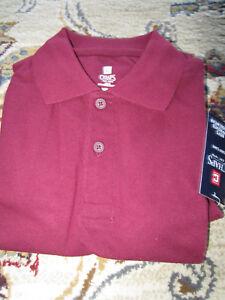 NWT Boys Chaps Solid Pique School Uniform Polo Shirt M(5/6), L(7) -  Lot of 2