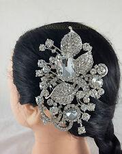 SILVER DIAMONTE HAIR SLIDE/COMB/PASSA BRIDAL/WEDDING/PARTY/PROM (VA93S)