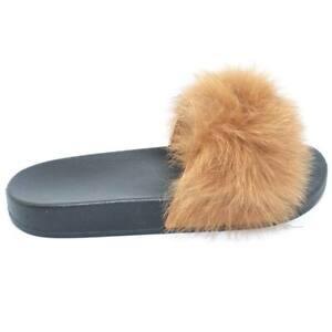 Pantofoline donna con pelliccia peluche pelo marrone voluminosa colorata morbide