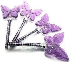 12 HARD CANDY BUTTERFLY LOLLIPOPS with BLING STICKS - TRANSPARENT