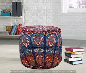 Mandala Peacock Floor Cushion Cover Boho Handmade Indian Poufs Pillows Footstool