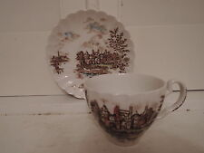 Vintage Johnson Bros. Ancient Towers Cup & Saucer Brown Transferware Ironstone