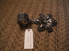 Gems Stones Scarf Ring Flower Nwt Christopher & Banks Black Onyx-Like