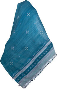 Handwoven Large Shawl  Wool Hand Loomed in Kutch India Blue Taupe Tribal Art