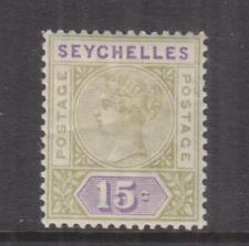 SEYCHELLES, 1893 QV 15c. Sage Green & Lilac, lhm.